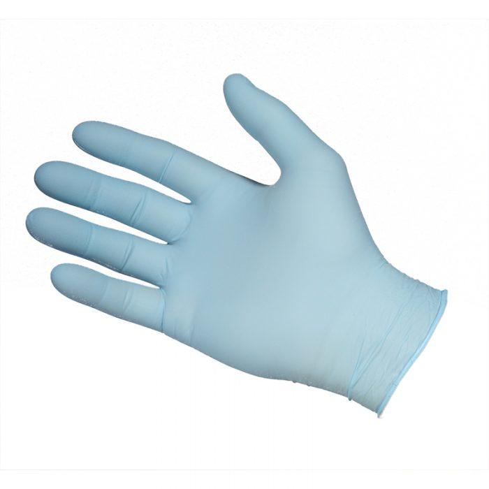 Blå nitrilhandske